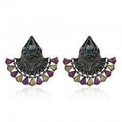 1 Pair Bohemian Crystal Rhinestones Fan Shaped Water Drop Retro Earrings for Women