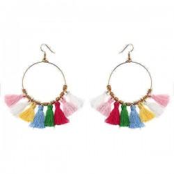 1 Pair Bohemian Sector Shape Tassel Pendant Big Hoop Dangle Earrings for Women
