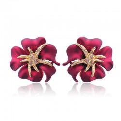 1 Pair Elegant Brilliant Blue Red Blooming Flowers Golden Rhinestones Stud Earrings