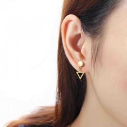 1 Piece Titanium Steel Earrings Fashion 316L Stainless Steel Triangle Pendant Ear Stud for Men Women