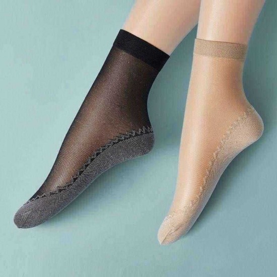 10 Pairs Ultrathin High Sesilience Cotton Liners Heel Grip Non Slip Sock