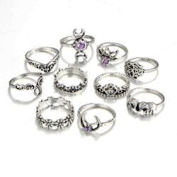 10 Pcs Bohemian Statement Ring Set Trendy Crystal Irregular Knuckle Rings for Women