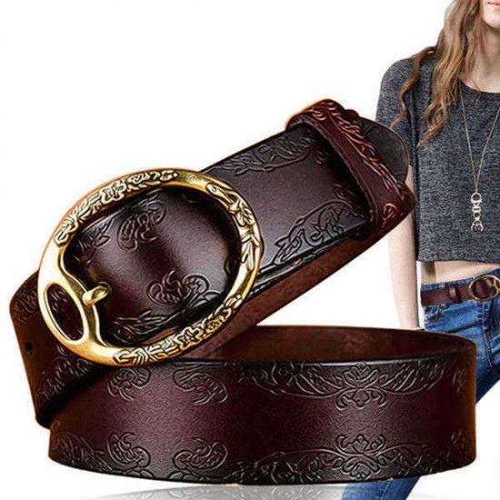 100CM Women Retro Printed Leather Belt Outdoor Fashion Carved Jeans Belts With Pin Buckle