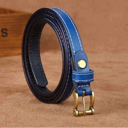 105CM Women Second Layer Leather Belt Leisure Pin Buckle Solid Sew Edge Waistband for Jeans Cowboy