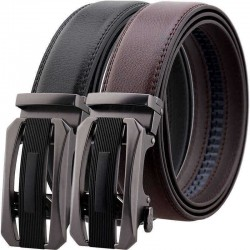 125CM Second Layer Cowhide Leather Business Alloy Automatic Buckle Belt Balck Brown