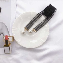 140CM Women Ladies Sexy Lace Skinny Scarf Pearl  Ball Pendant Decoration Small Narrow Scarves