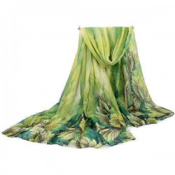 180CM Women Voile Coral Flower Printing Scarf Casual Oversize Warm Soft Scarves Shawls