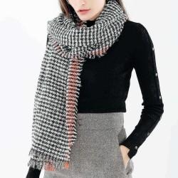 190*70CM Women Winter Warm Acrylic Plaid Scarf Outdoor Large Size Shawl with Tassel