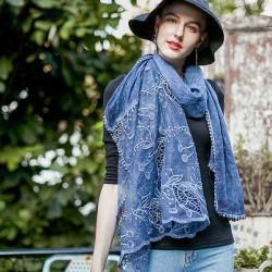 190CM Women Vintage Hollow Scarf Shawl Casual Cotton Lightweight Warm Scarves