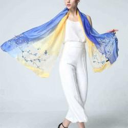 190cm Women Flower Embroidered Silk Scarves Soft Long Scarf Beach Shawls