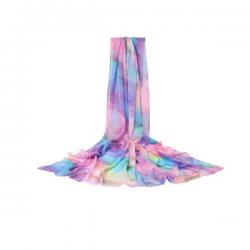 196*150CM Women Silk Print Floral Soft Long Beach Towel Summer Sunscreen Visor Shawl