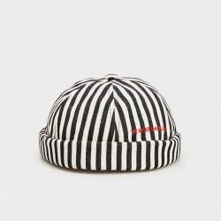 2019 Autumn Stripe Beret  Street Trends Melon Cap Vintage Innocent Metal Standard Sailor Brimless Hats