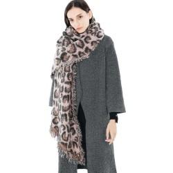 220*56 CM Women Winter Warm Vintage Acrylic Leopard Scarf with Tassel Long Shawl