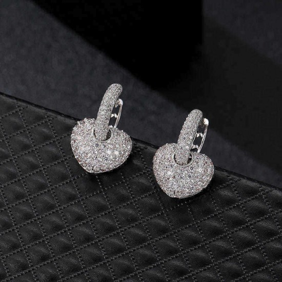 24K Gold and Platinum Plated Micro Inlay Zircon Shiny Heart Pendant Hoop Earrings Jewelry for Women