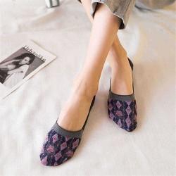 4 Pairs of Socks Breathable Cotton Rhombic Boat Socks Non-slip Deodorant Invisible Sock