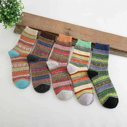 5 Pairs Women Cotton Socks Harajuku Style Stripe Gird Deer Pattern Elastic Mid Calf Hosiery