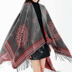 Artificial Cashmere 130*150CM Women Winter Vintage Ethnic Style Scarf Shawl with Tassel