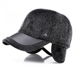 Artificial Marten Hair Earmuffs Baseball Cap Winter Warm Thicken Peaked Hat Adjustable
