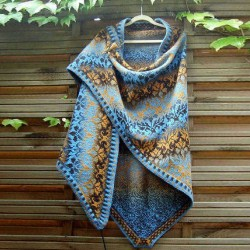 Blue Casual Cotton Blend Scarves & Shawl