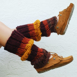 Brown Striped Casual Paneled Cotton-Blend Leg Warmer Sock