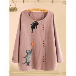 Button Cartoon Cat Print O-neck Casual Blouse Shirts
