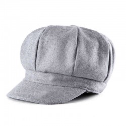 Casual Cotton Wool Women Solid Octagonal Cap Retro Newsboy Hat Nose Cap