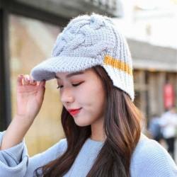 Casual Winter Earmuffs Warm Knit Baseball Cap Outdoor Patchwork Peaked Cap