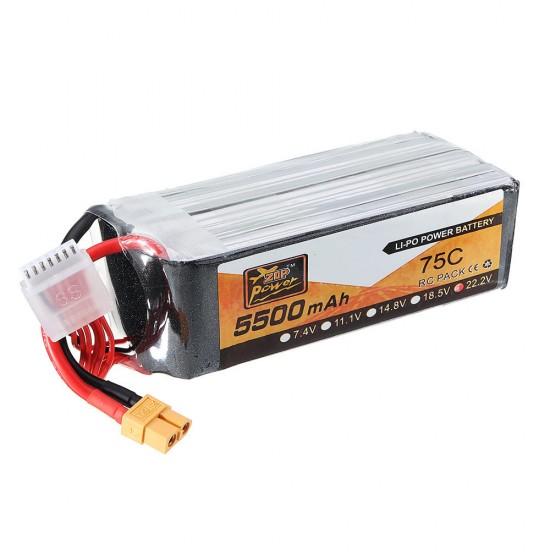 ZOP Power 22.2V 5500mAh 75C 6S Lipo Battery XT60 Plug for FPV RC Helicopter Car Airplane