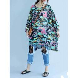 Autumn Women  Irregular Color Pattern Loose Dress