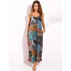 Bohemian Colorful Printed V-Neck Strap Maxi Dress for Women