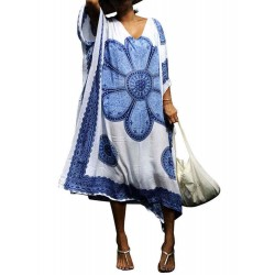 Bohemian Floral Loose A-line Women Maxi Dress
