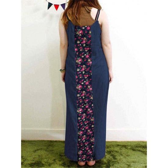 Bohemian Floral Print Spaghetti Straps Patchwork Maxi Dress