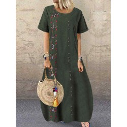 Bohemian Flowers Embroidery Short Sleeve Plus Size Maxi Dress
