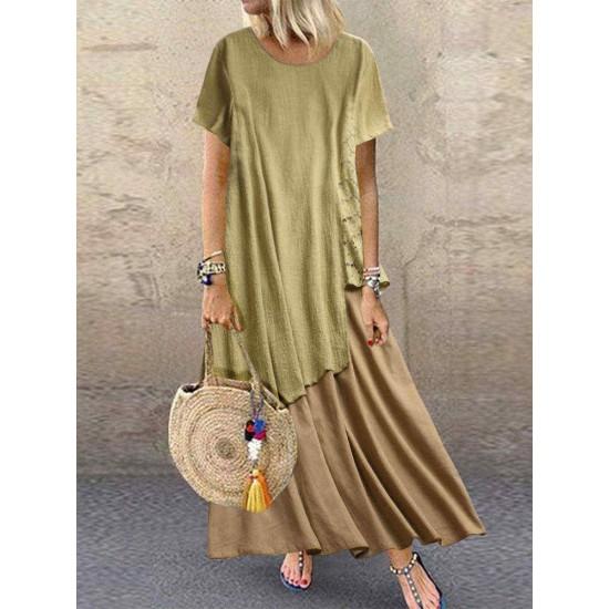 Bohemian Lace Patchwork Summer Plus Size Maxi Dress