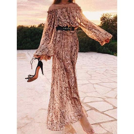 Bohemian Off-shoulder Long Sleeve Printed Holiday Maxi Dress