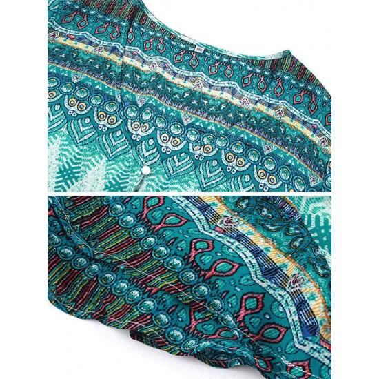 Bohemian Print Button V-neck Plus Size Dress