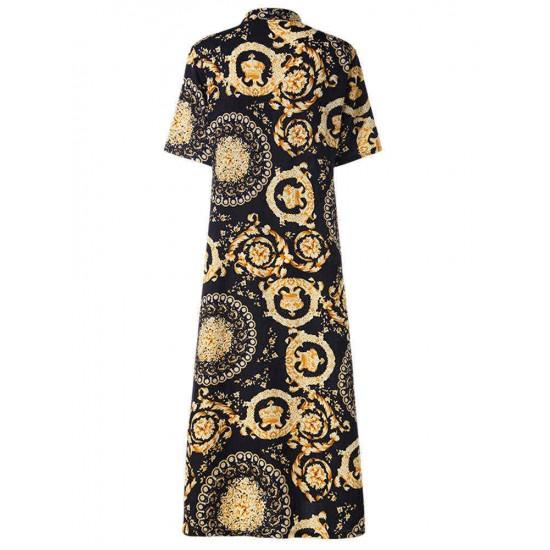 Bohemian Print Lapel Short Sleeve Button Down Front Maxi Dress