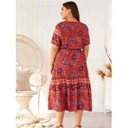 Bohemian Print V-neck Plus Size Dress