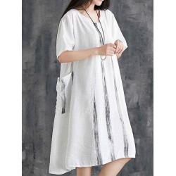 Casaul Loose Oversize Half Sleeve Pockets Summer Dress