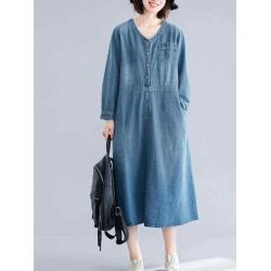 Casaul V-neck Long Sleeve Pockets Denim Dress