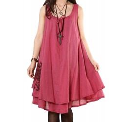 Casual Bow Embroidery Sleeveless Linen Mini Sundress For Women