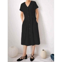 Casual Button Down Front Short Sleeve Dress with Pockets