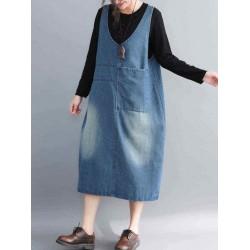 Casual Denim Sleeveless V-Neck Pocket Loose Dress For Women