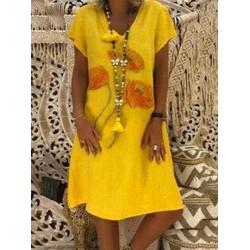 Casual Floral Print V-neck Short Sleeve Women Dress