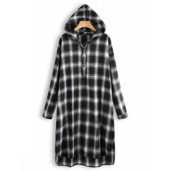 Casual Grid Long Sleeve Split Hem Hooded Shirt Dress For Women