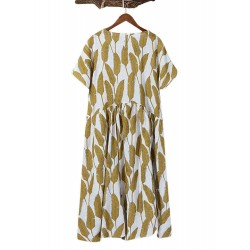 Casual Leaves Print Patch Crew Neck Dress