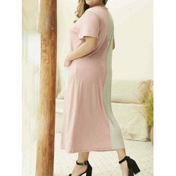 Casual Patchwork Crew Neck Pockets Plus Size Dress