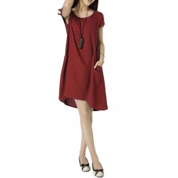 Casual Slim Pocket Solid Color Linen Cotton Dress For Women