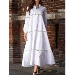 Casual Solid Color Hollow Out Long Sleeve Dress
