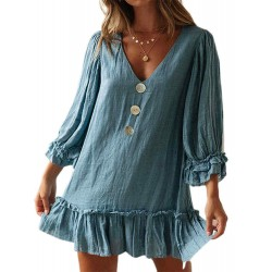 Casual Solid Color Lace V-neck Long Sleeve Dress